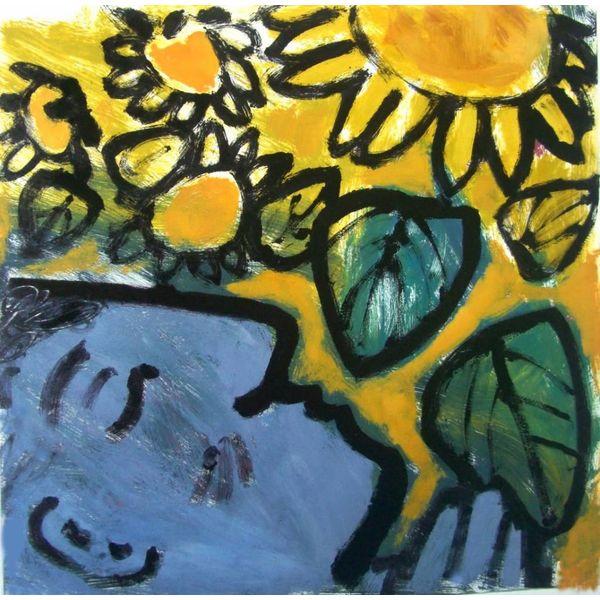 In den Sonnenblumen summen