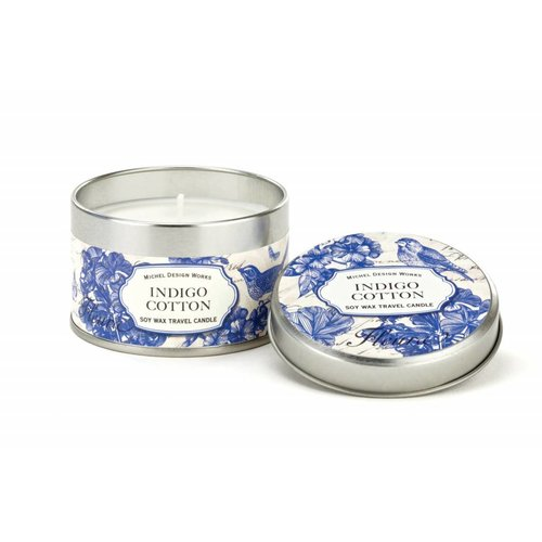 Michel Design Works Indigo Cotton Travel Candle Tin 20 + hours