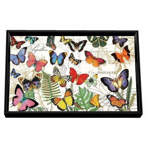 Michel Design Works Bandeja de madera Papillon Vanity Decoupage
