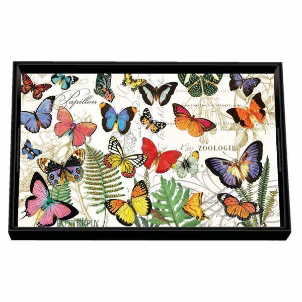 Bandeja de madera Papillon Vanity Decoupage
