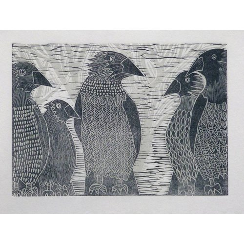 Anita J Burrows A Parliament of Crows - Woodcut