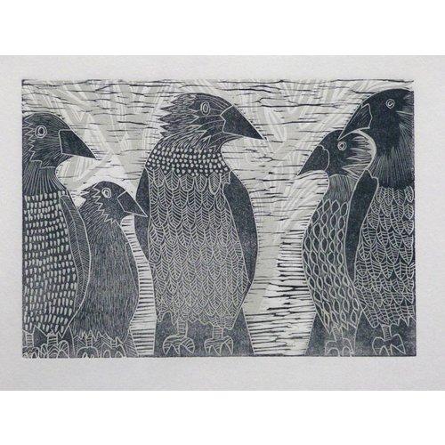 Anita J Burrows Un parlamento de cuervos - xilografía