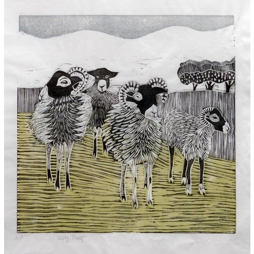 Anita J Burrows Sassy Sheep - Xilografía