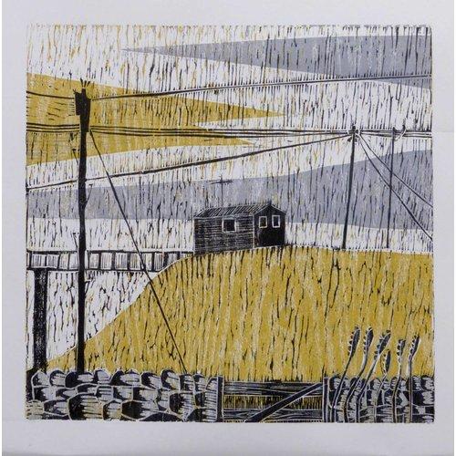 Anita J Burrows Wires Crossed - Woodcut