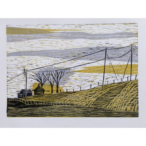 Anita J Burrows Towards the Widdop Gate - Woodcut