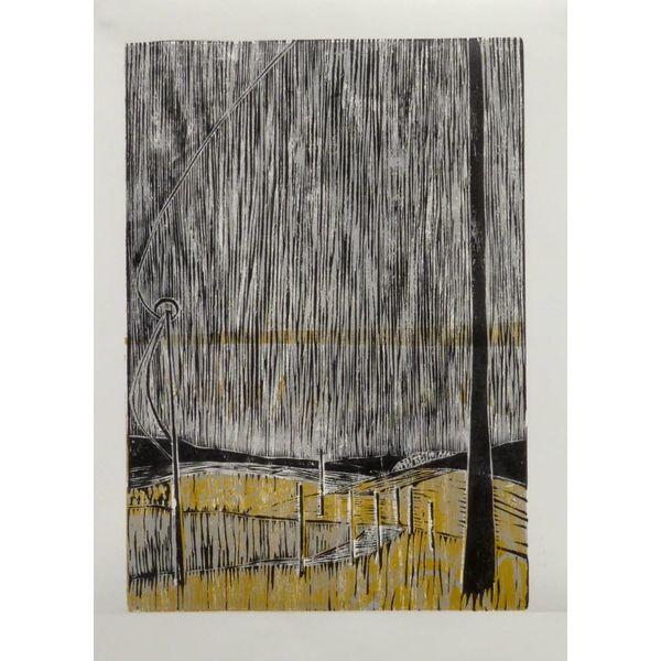 Raining Stair Rods on the Widdop Road- Woodcut