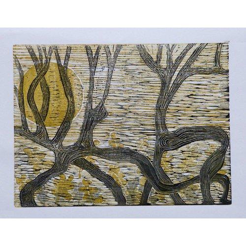 Anita J Burrows Duell Hawthorn - Holzschnitt