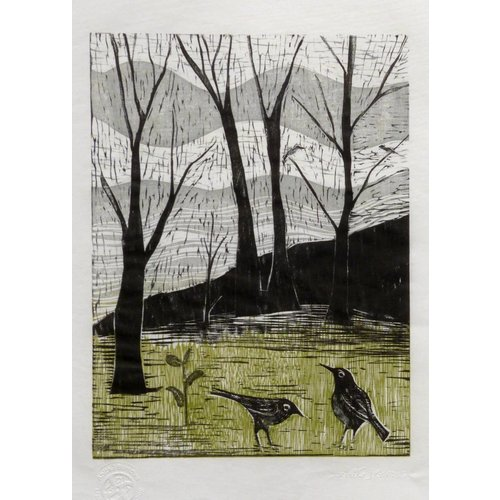 Anita J Burrows Spring is on it's Way- Woodcut