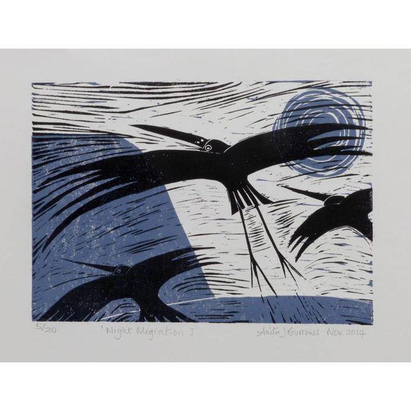 Night Migration- Linocut