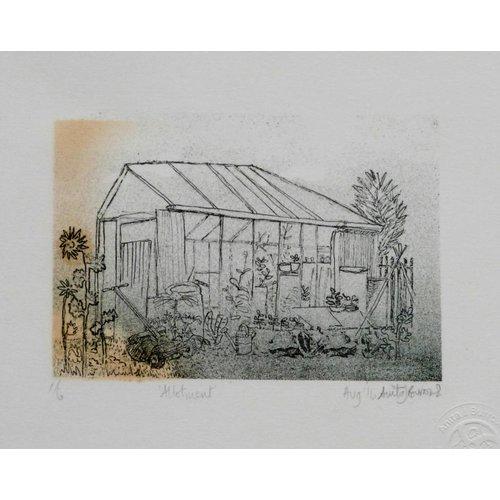 Anita J Burrows Zuteilung- Lithographie eingerahmt