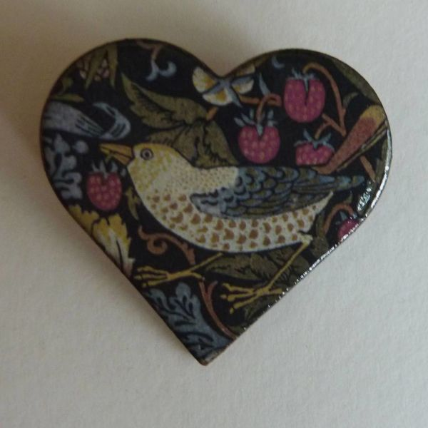 Heart Strawberry thief Bird Brooch