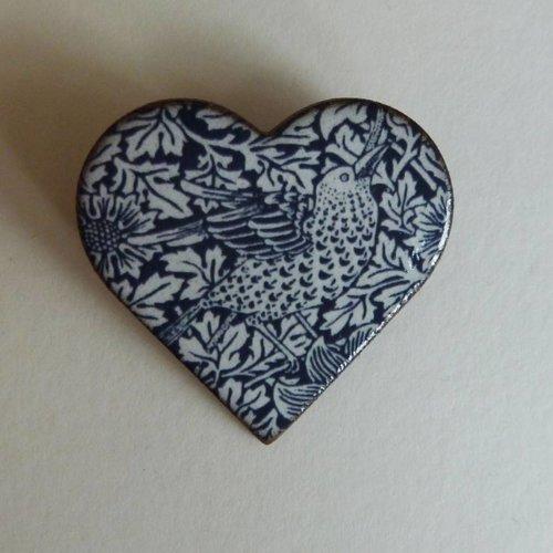 Stockwell Ceramics Heart blue bird brooch