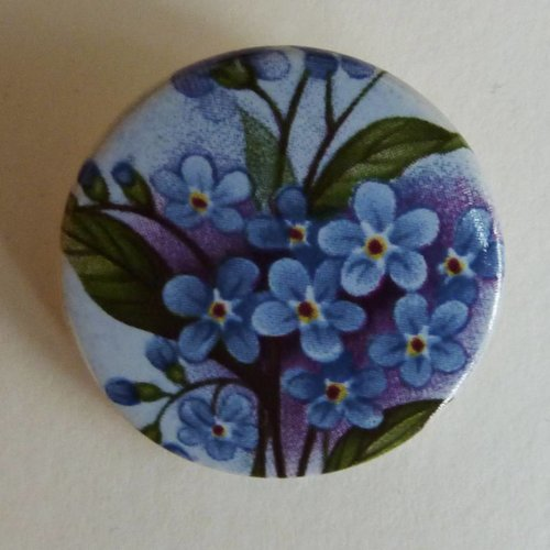 Stockwell Ceramics Round forget me not brooch