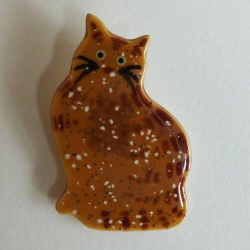Stockwell Ceramics Ginger cat brooch