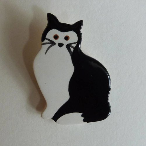 Stockwell Ceramics Black and white cat brooch