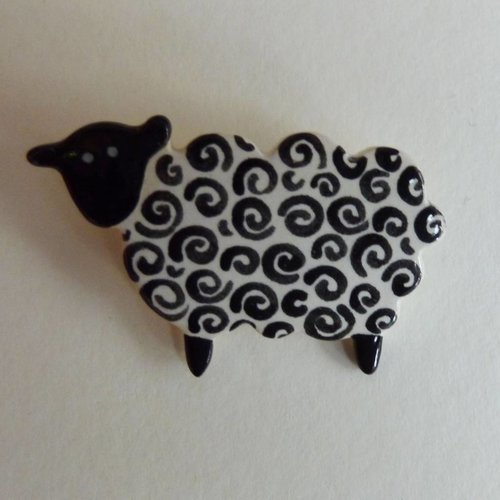Stockwell Ceramics Black faced curly  sheep brooch