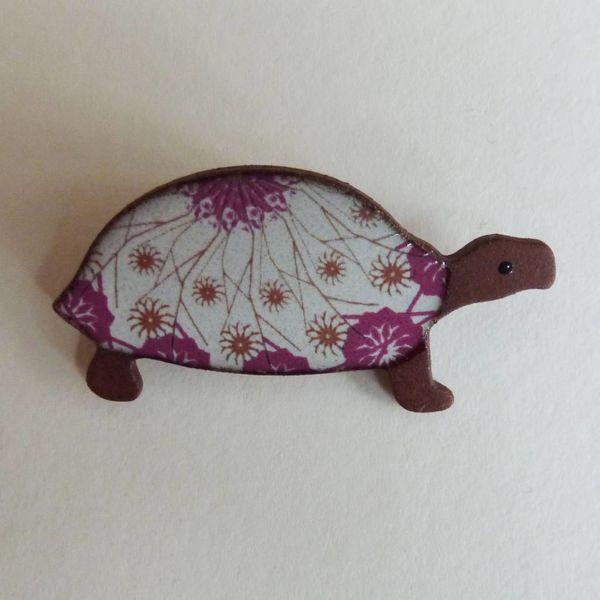 Pink tortoise brooch