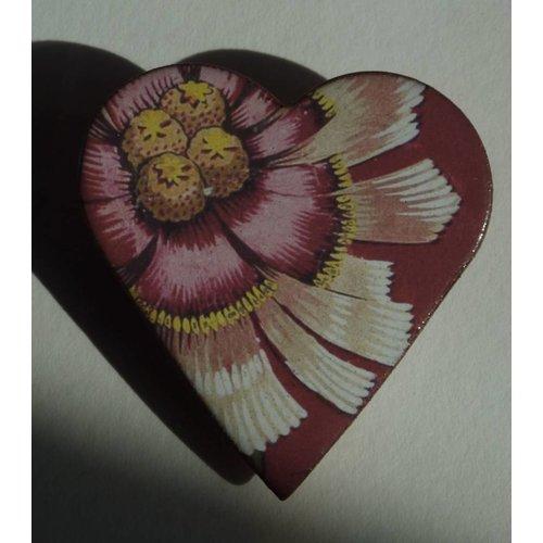 Stockwell Ceramics Heart Flower brooch