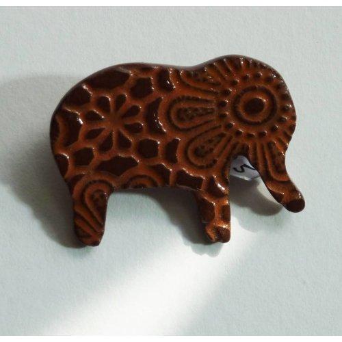Stockwell Ceramics Orange elephant brooch