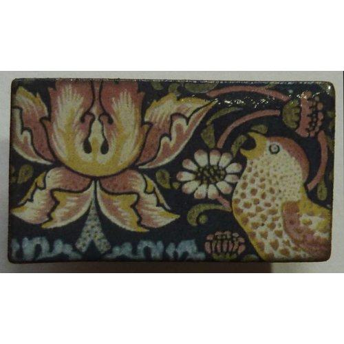Stockwell Ceramics Bird and flower brooch