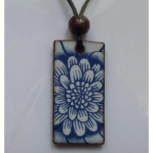 Stockwell Ceramics Blue Flower Pendant