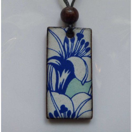 Stockwell Ceramics Blue and white lily  Pendant
