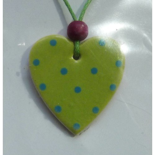 Stockwell Ceramics Heart Lime and blue dot pendant