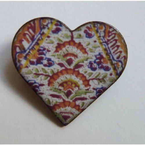 Stockwell Ceramics Heart Warner  brooch