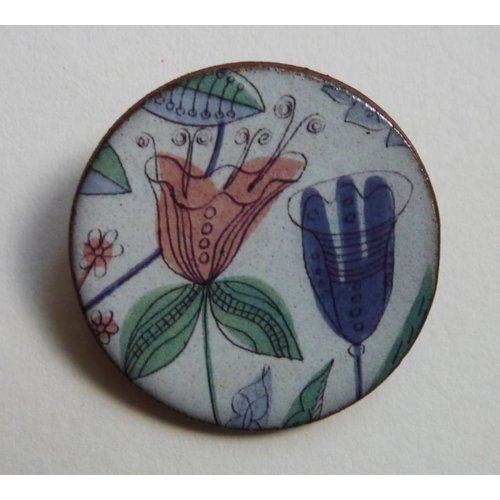 Stockwell Ceramics Pink blue flower Warner  brooch