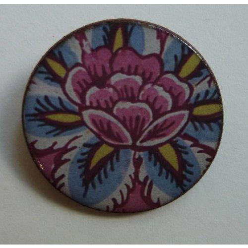 Stockwell Ceramics Copy of Pink blue flower Warner  brooch