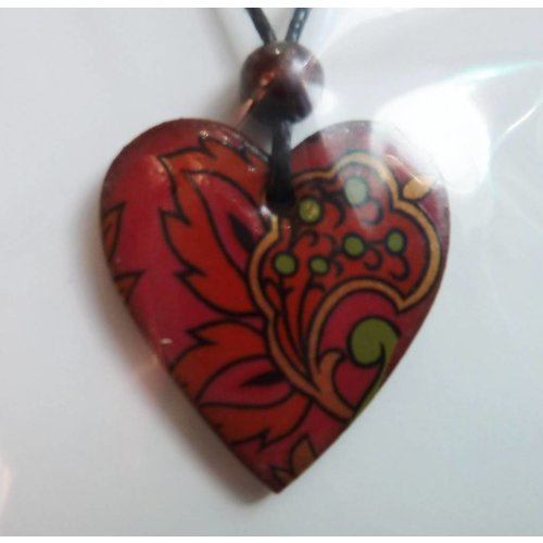 Stockwell Ceramics Copy of Heart Burnt orange daisy pendant
