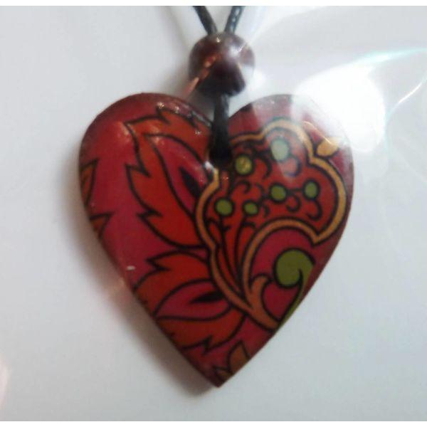 Copy of Heart Burnt orange daisy pendant