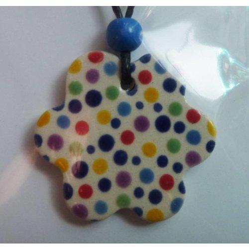 Stockwell Ceramics Wavy multi colour dot pendant