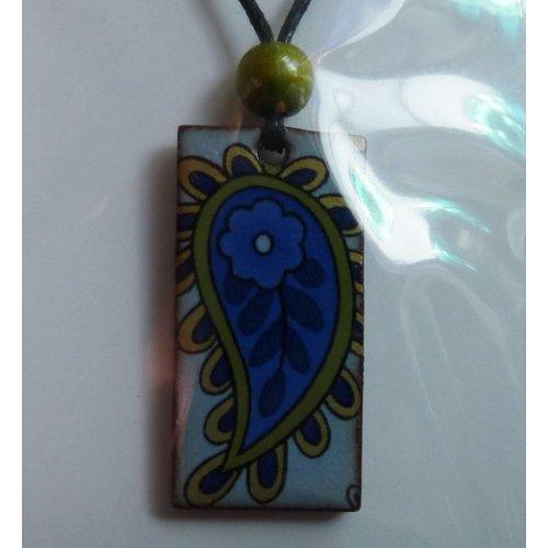 Stockwell Ceramics Blue leafy pendant