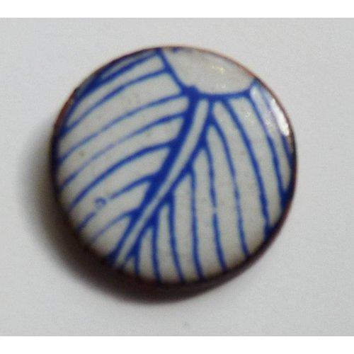 Stockwell Ceramics Blue white leaf stud earrings