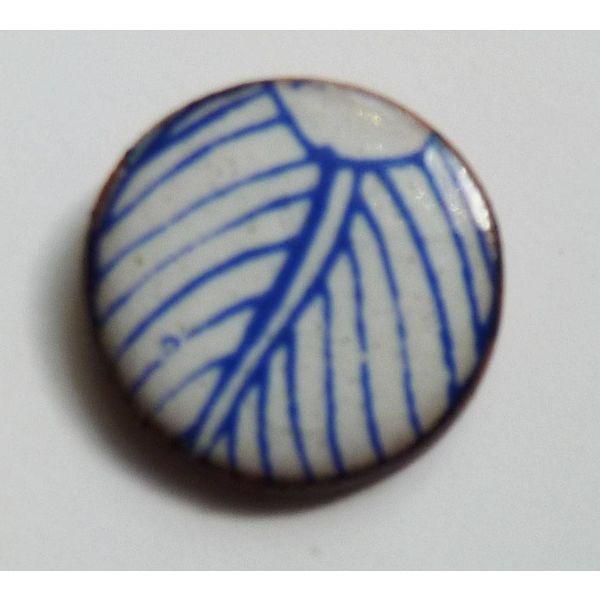 Blue white leaf stud earrings