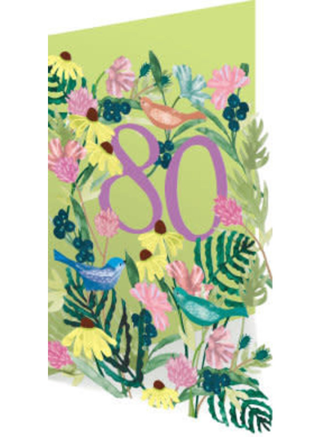 Copy of 70 Birthday Birds and Flowers Laser Card