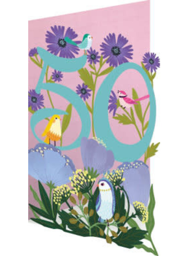 Copy of 80 Birthday Birds and Flowers Laser Card