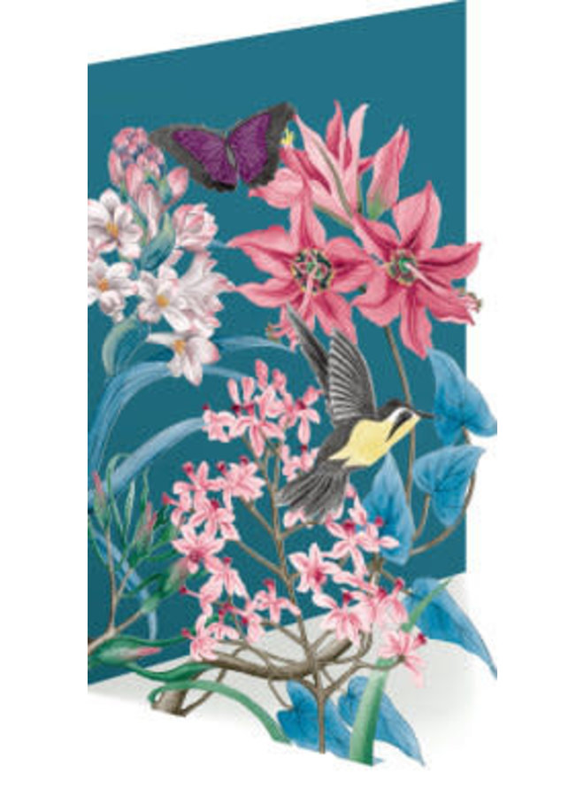 Humming Bird and flowers Laser Card