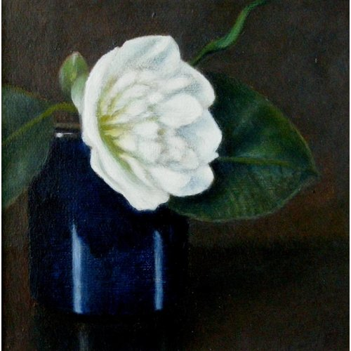 Linda Brill Camellia and Blue Pot 08