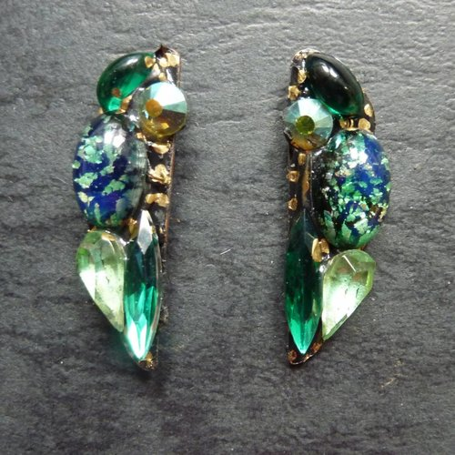 Annie Sherburne Copy of Vintage  Blue Stud earrings crystal assemblage