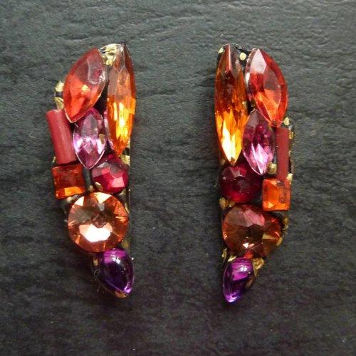 Annie Sherburne Copy of Vintage  Green Stud earrings crystal assemblage