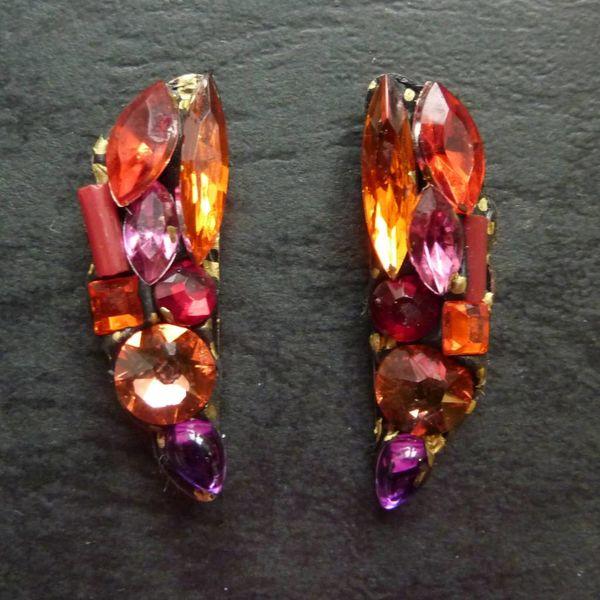 Copy of Vintage  Green Stud earrings crystal assemblage