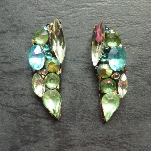 Annie Sherburne Copy of Vintage  orange  Stud earrings crystal assemblage