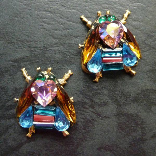 Copy of Vintage  citrine wing bee  Stud earrings crystal assemblage