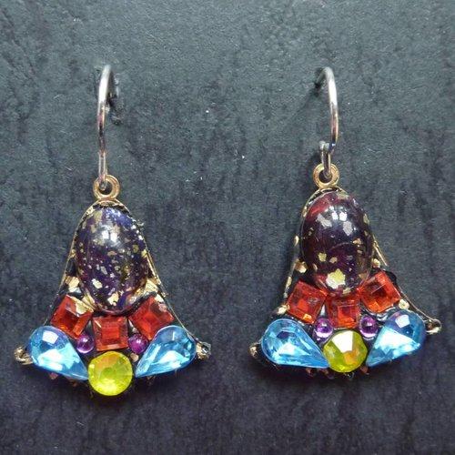 Annie Sherburne Copy of Vintage  Harebell blue drop earrings crystal assemblage