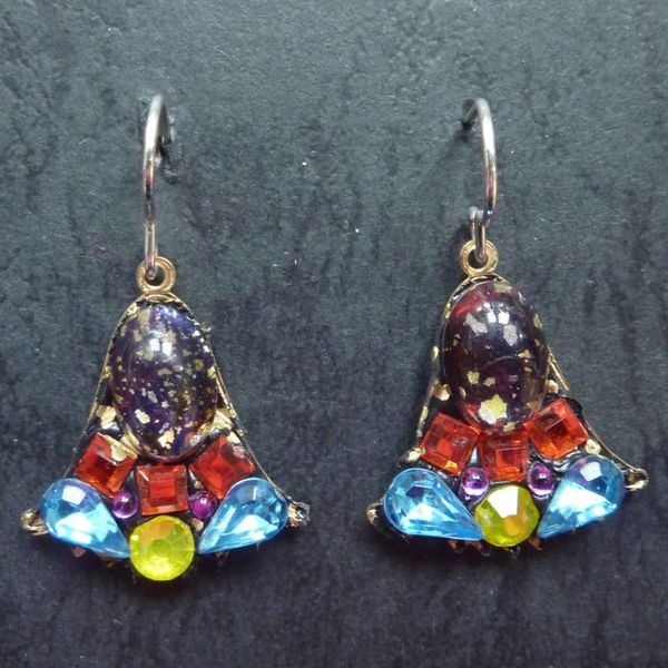 Copy of Vintage  Harebell blue drop earrings crystal assemblage
