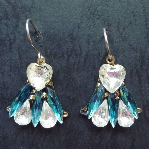 Copy of Vintage  Harebell red blue drop earrings crystal assemblage