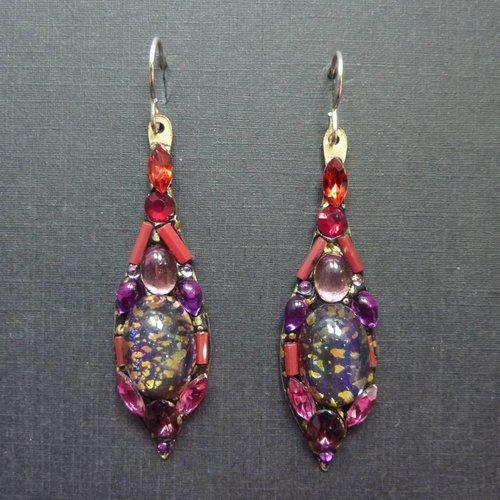 Annie Sherburne Vintage  multi Icicle drop crystal earrings