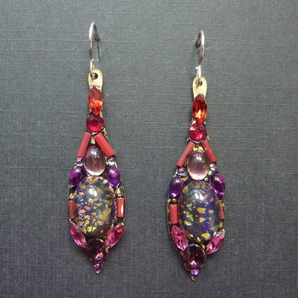 Copy of Vintage  multi Icicle drop earrings crystal assemblage
